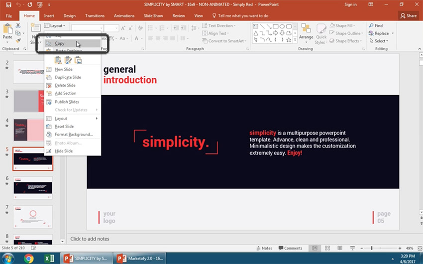 Copy your target PowerPoint slide