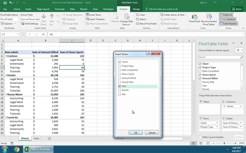 Use Pivot Table Slicers to filter your selection