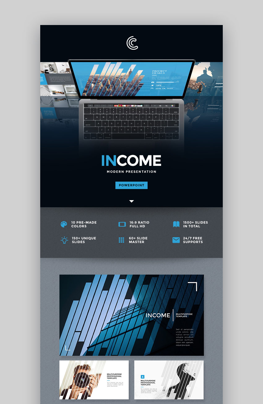 Income PowerPoint Presentation Design Template