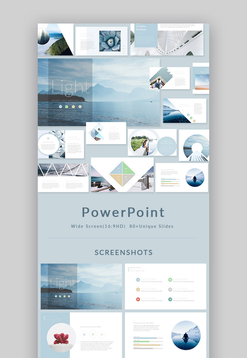 light stylish powerpoint presentation design set