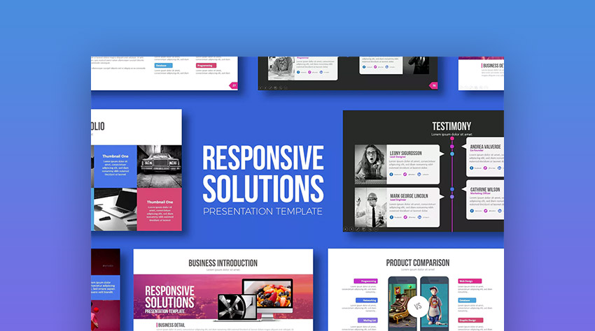 Responsive Solutions - Unique PowerPoint Design Template