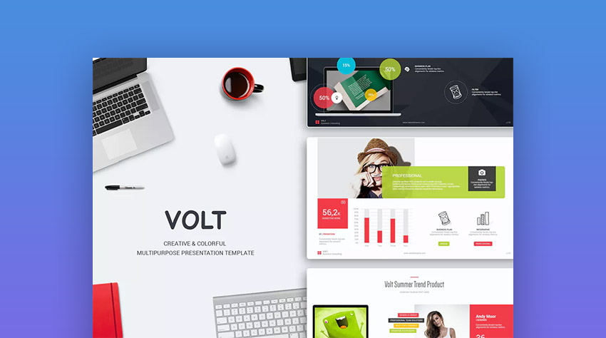 volt premium powerpoint template design for 2018