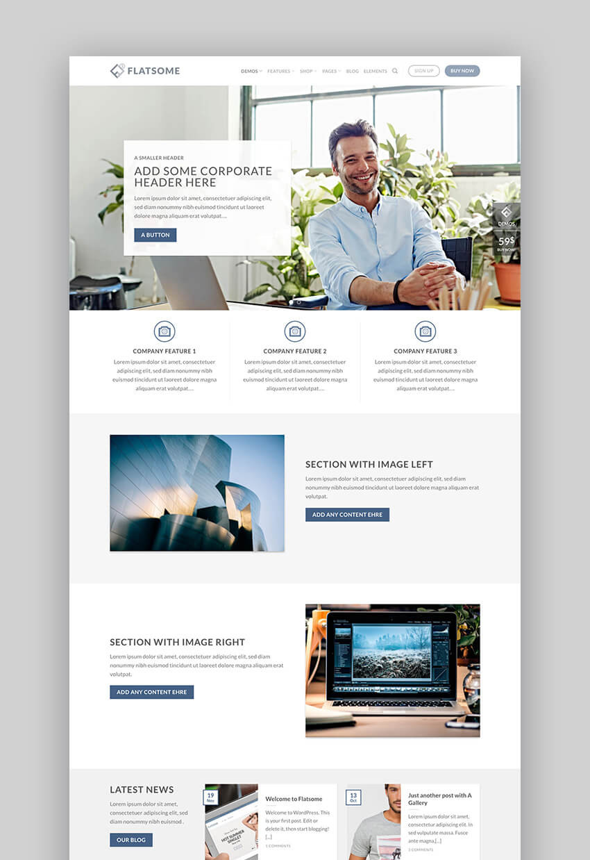 Flatsome premium business WordPress theme
