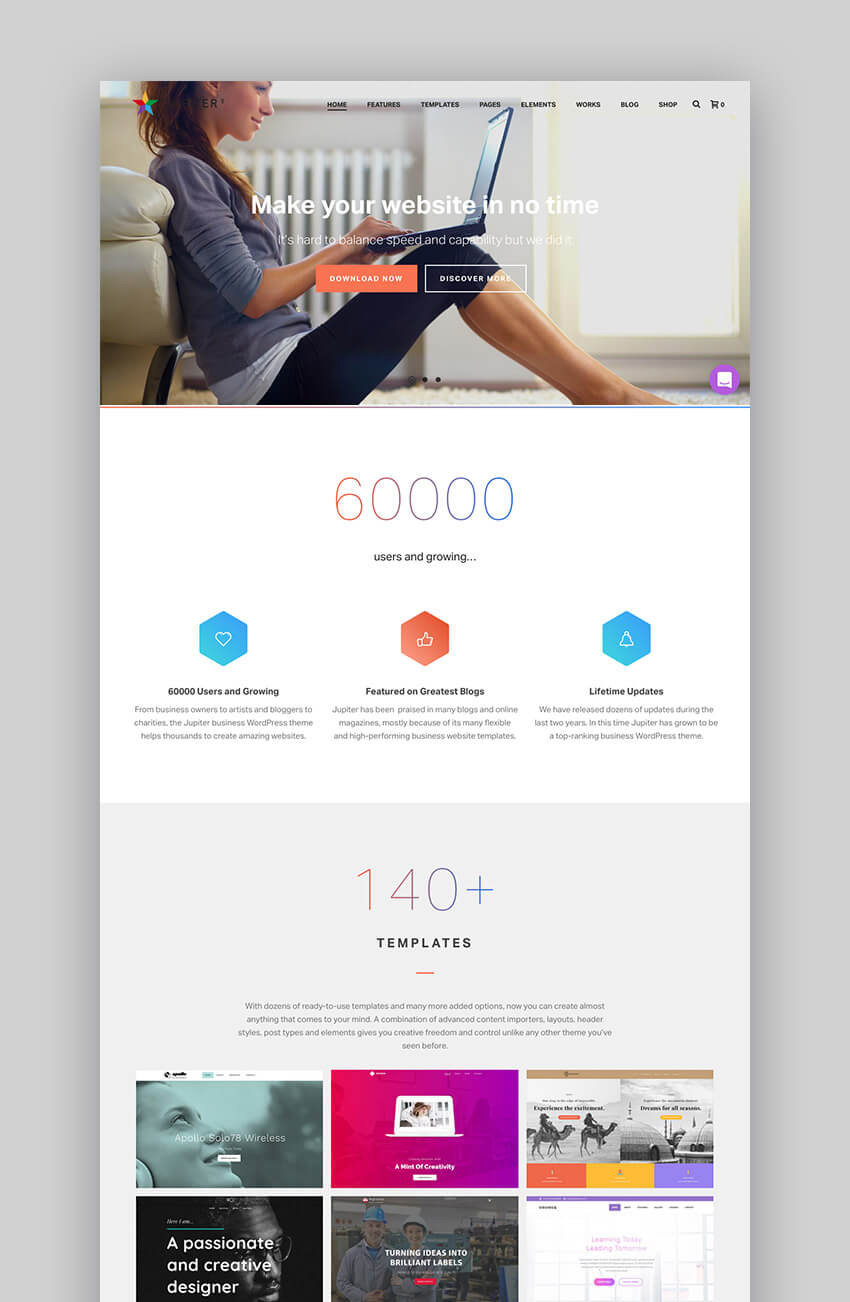 Jupiter responsive popular wordpress theme