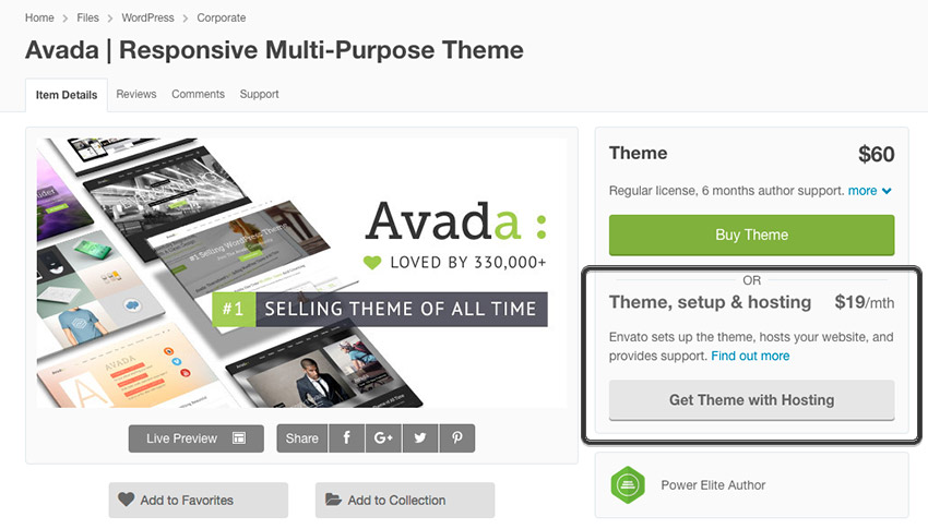 Avada premium WP theme with Envato Hosting