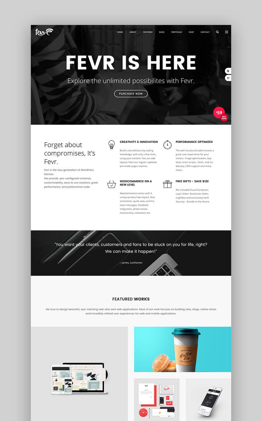 Fevr premium creative WordPress theme