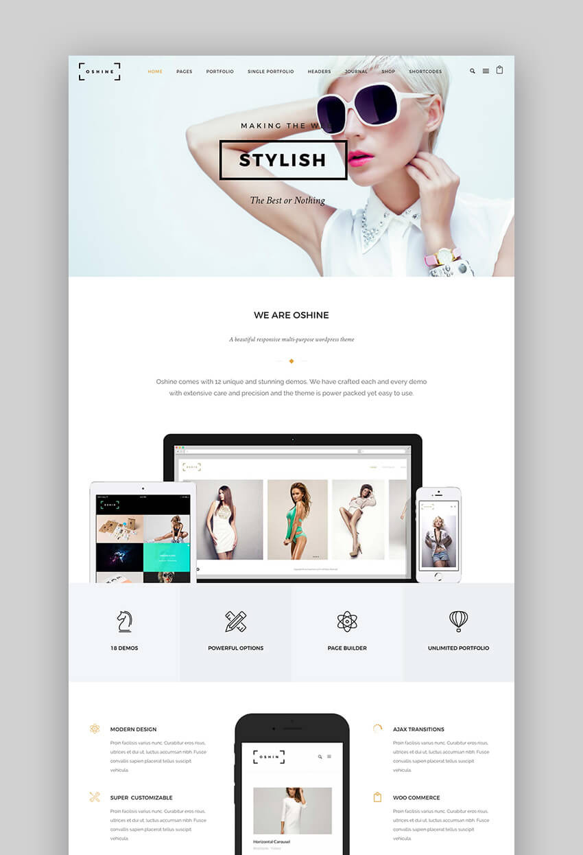 Oshine multipurpose premium theme for WordPress