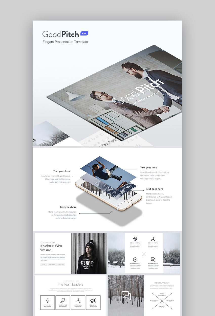 Good Pitch Elegant Design Business Keynote Template Set