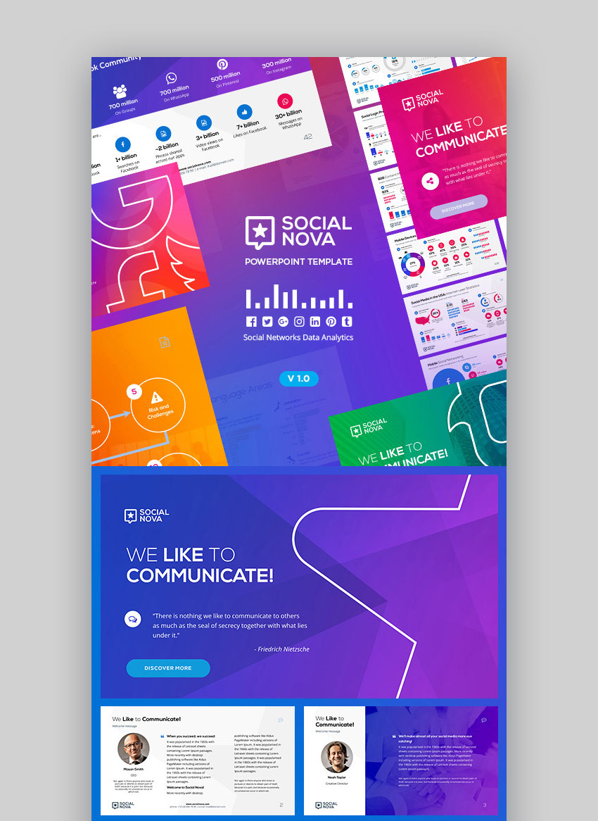 Social Nova Stylish New PowerPoint Template Design