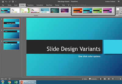 How to modify powerpoint with slide design variants