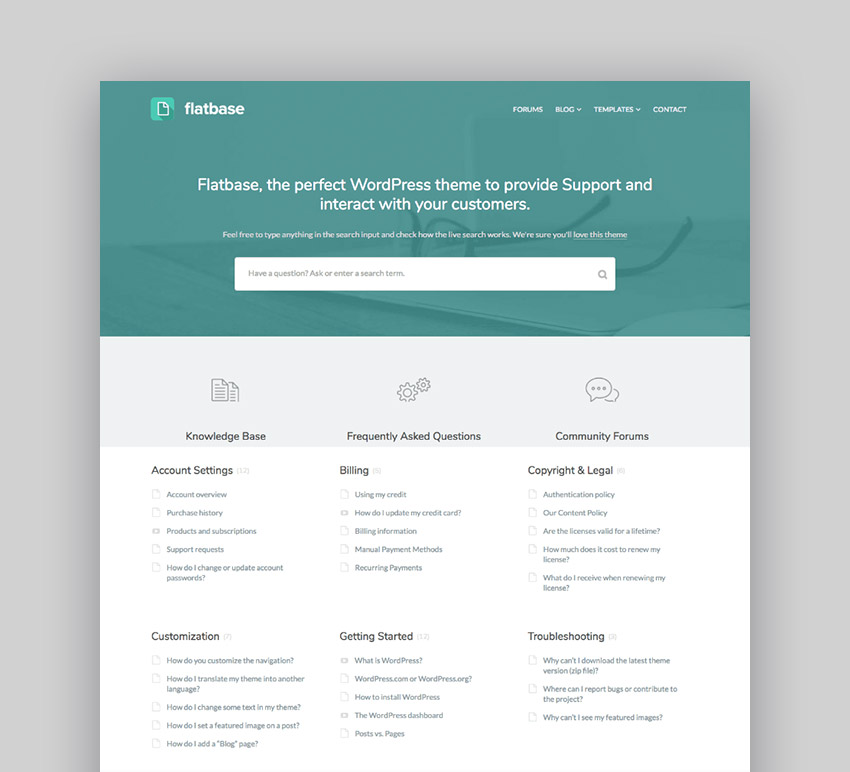 Flatbase - Knowledge base wiki WordPress theme