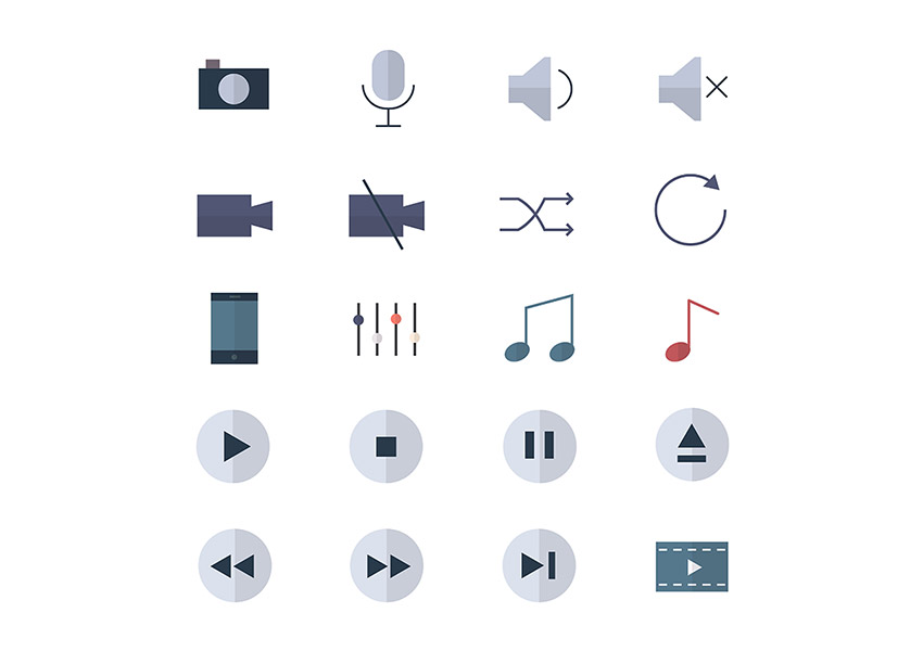 Media sound and music icons on GraphicRiver