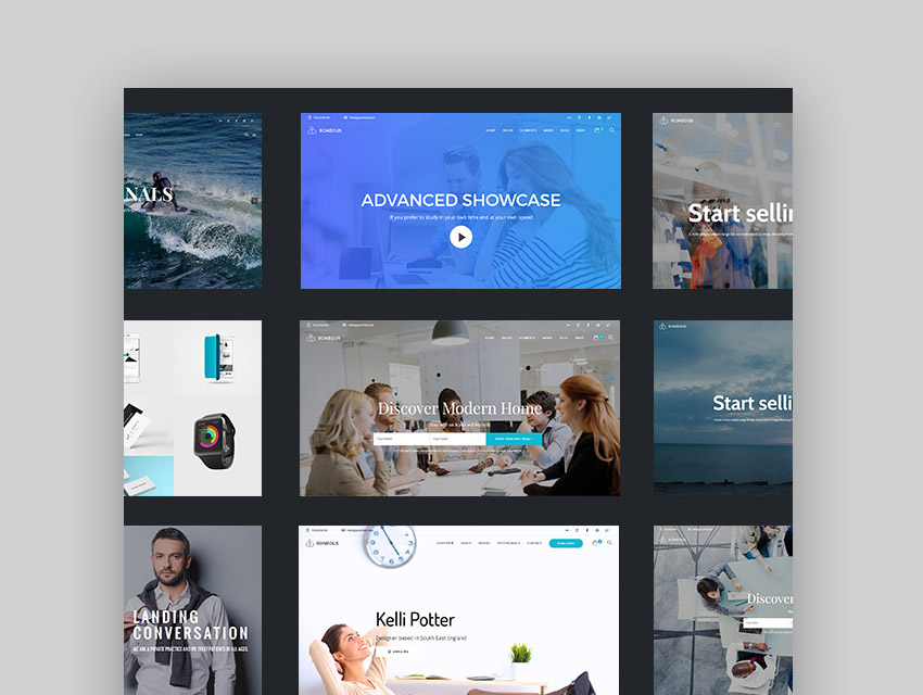 Modern homepage designs in Clean WordPress theme