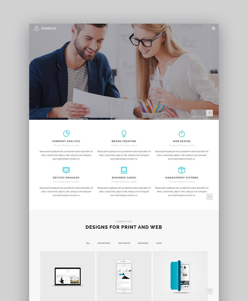 Clean modern Roneous WordPress theme