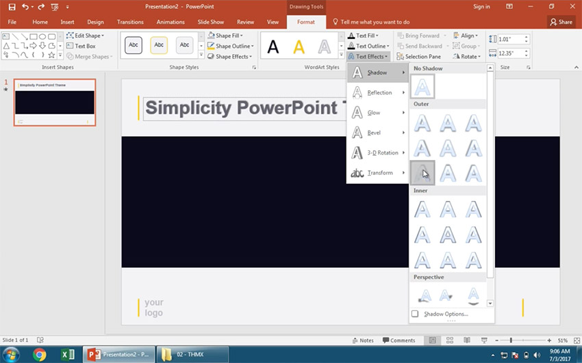 Text Effect Shadow options in PowerPoint