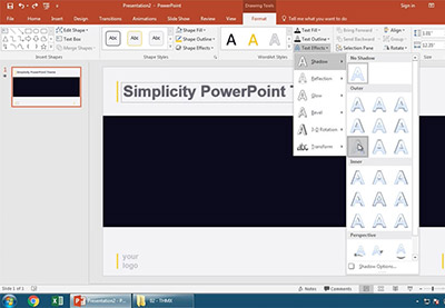 Powerpoint text effect drop shadow