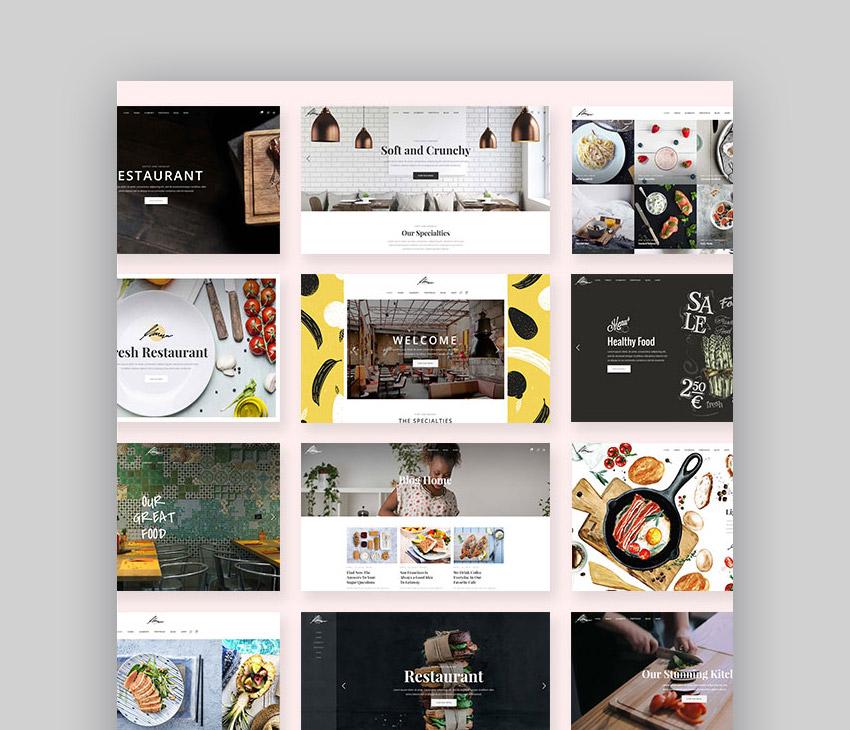 Savory WordPress restaurant website theme design options