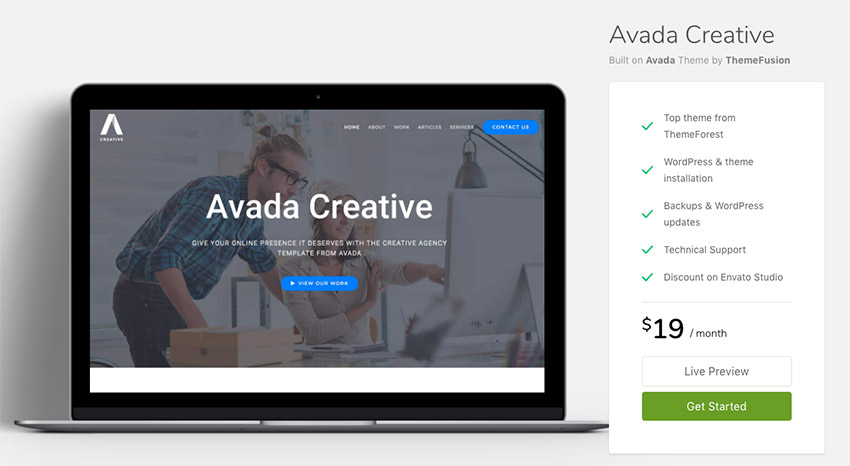 Minimal style setup of the popular Avada WordPress theme