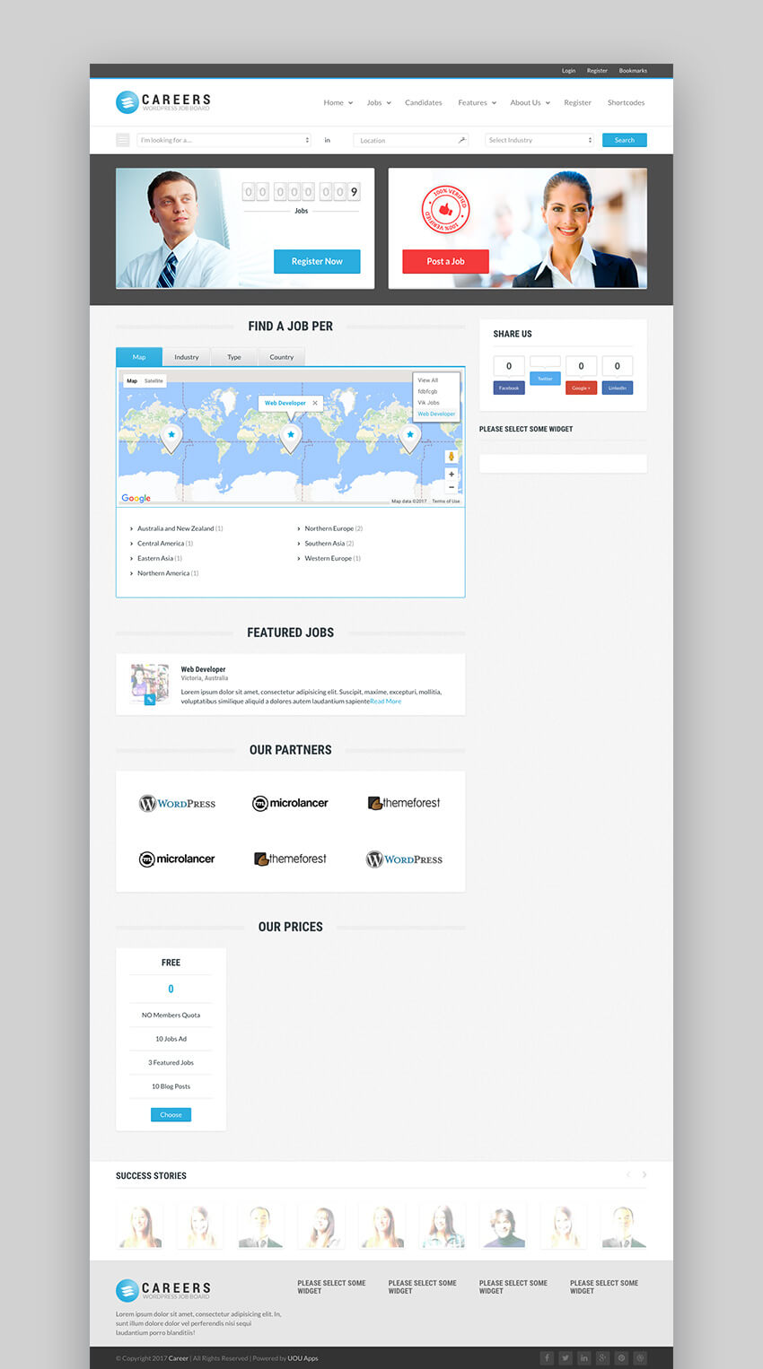 Careers Job Portal and Candidates WP Listing Theme