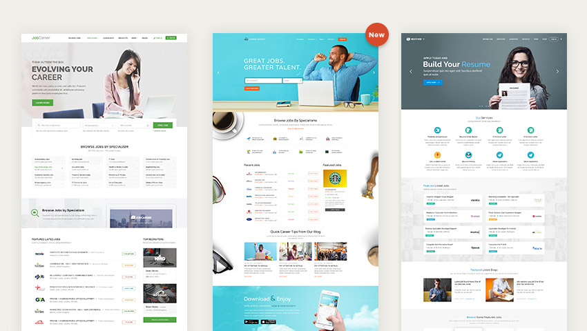 JobCareer Wordpress job board listing theme designs