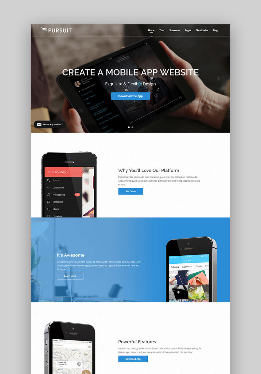 Pursuit app and cloud software WordPress theme