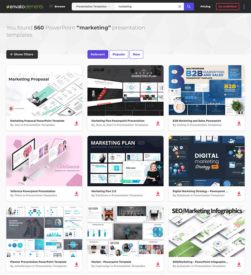 PowerPoint PPT Marketing templates on Envato Elements