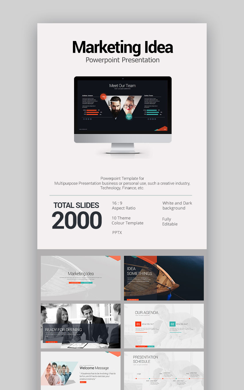 Marketing Idea Powerful Modern PowerPoint Template