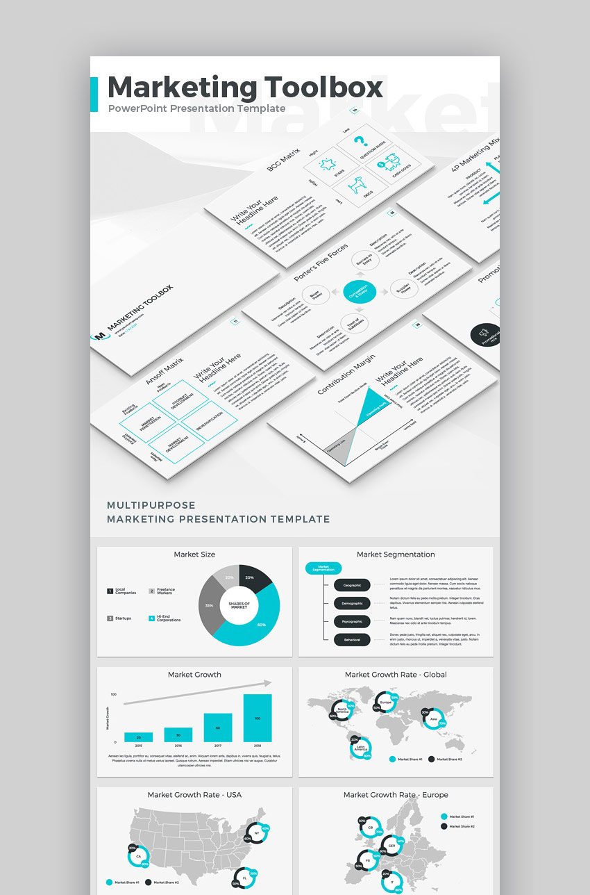 15 marketing powerpoint templates to present your plans marketing toolbox strategic powerpoint ppt template wajeb