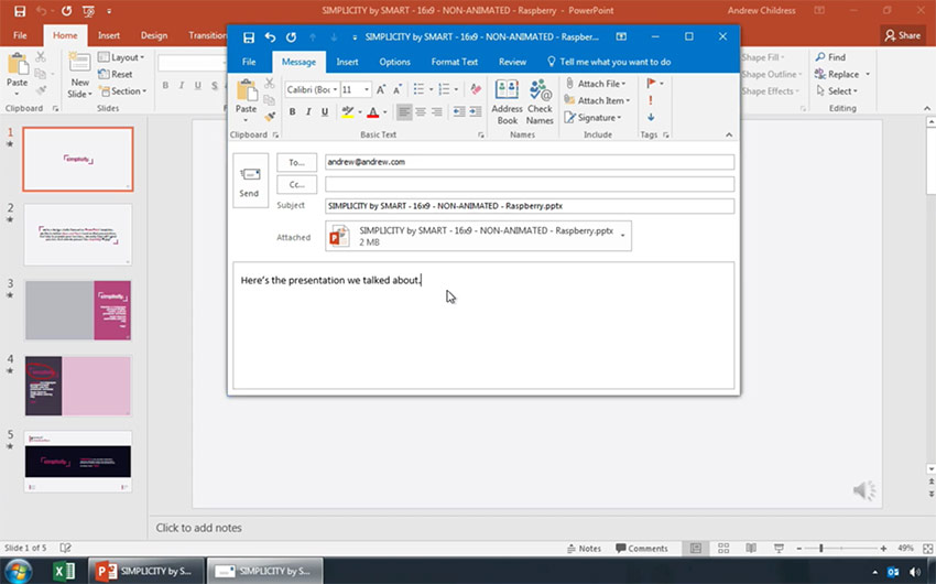 microsoft powerpoint how to send it as a presentation