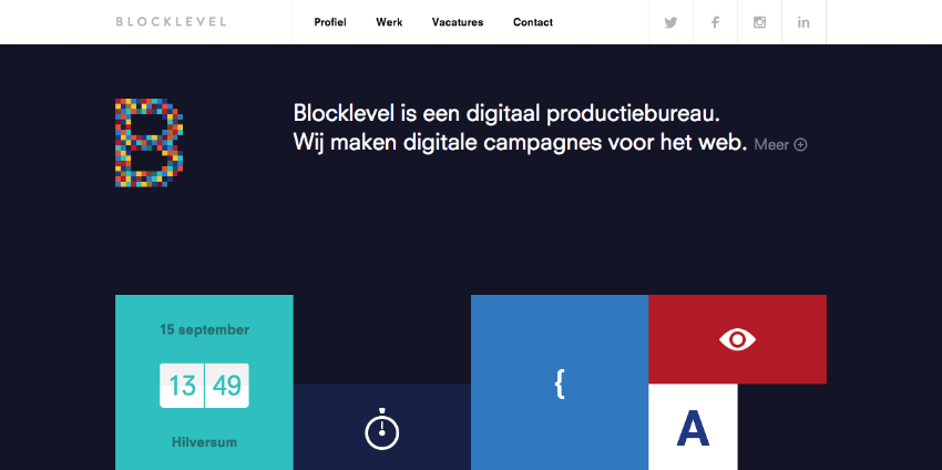 Blocklevel flat website design example