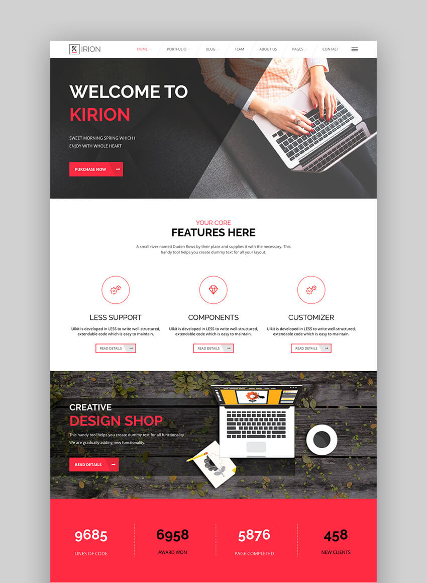 Kirion flat WordPress website design template