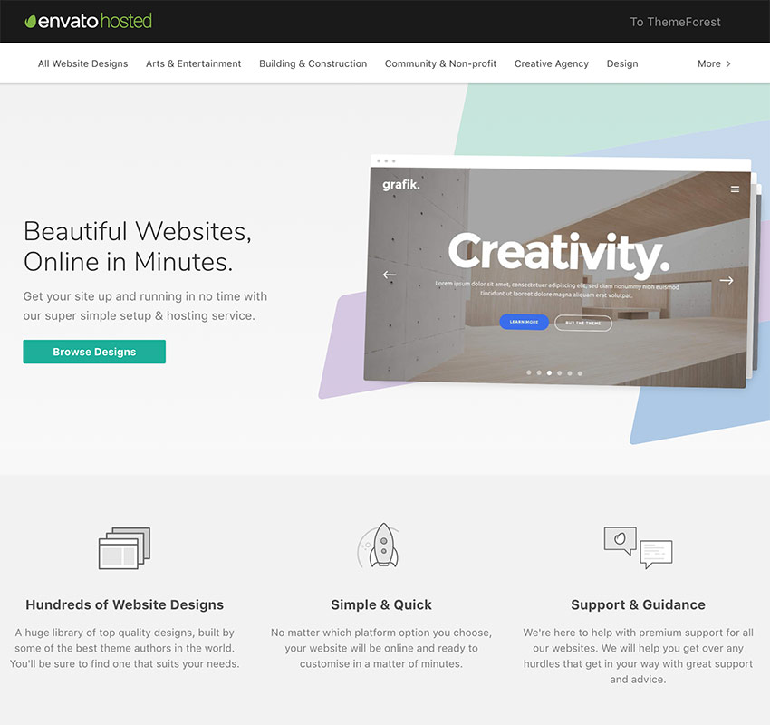 Envato Hosted WordPress hosting and quick blog setup