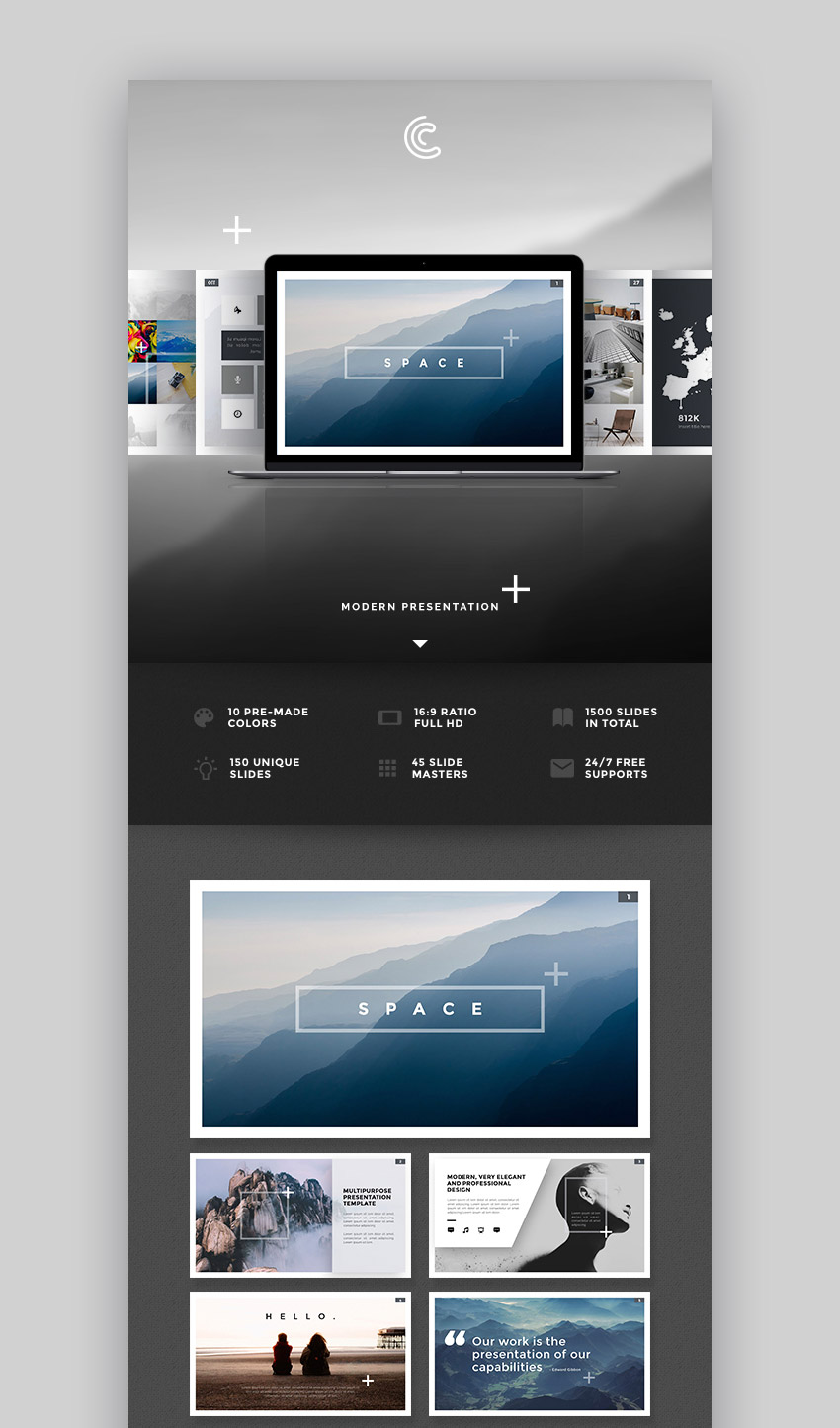 Space Custom Creative Mac Keynote Theme Design