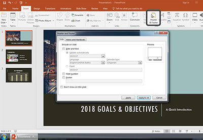 How to edit footer in powerpoint