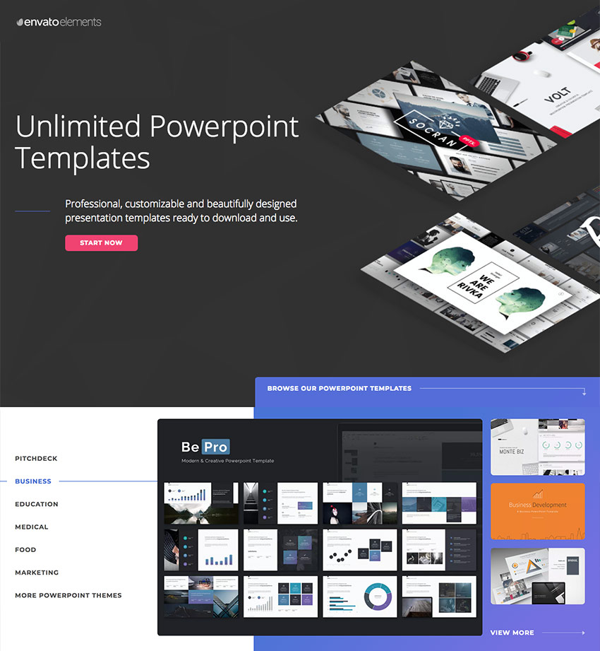 Simple modern PowerPoint presentation designs on Envato Elements - with unlimited access