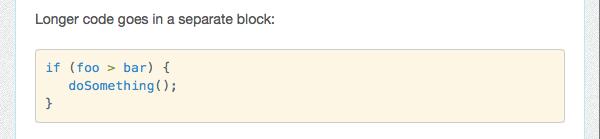 Rendered code block