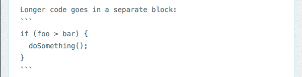 Syntax for code blocks
