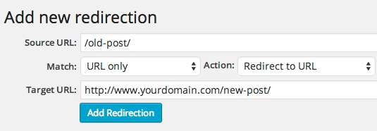 Redirection plugin - adding a new redirect
