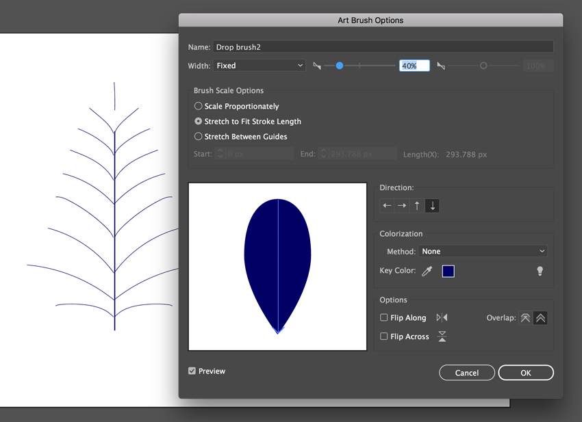 Brush options panel in Adobe illustrator