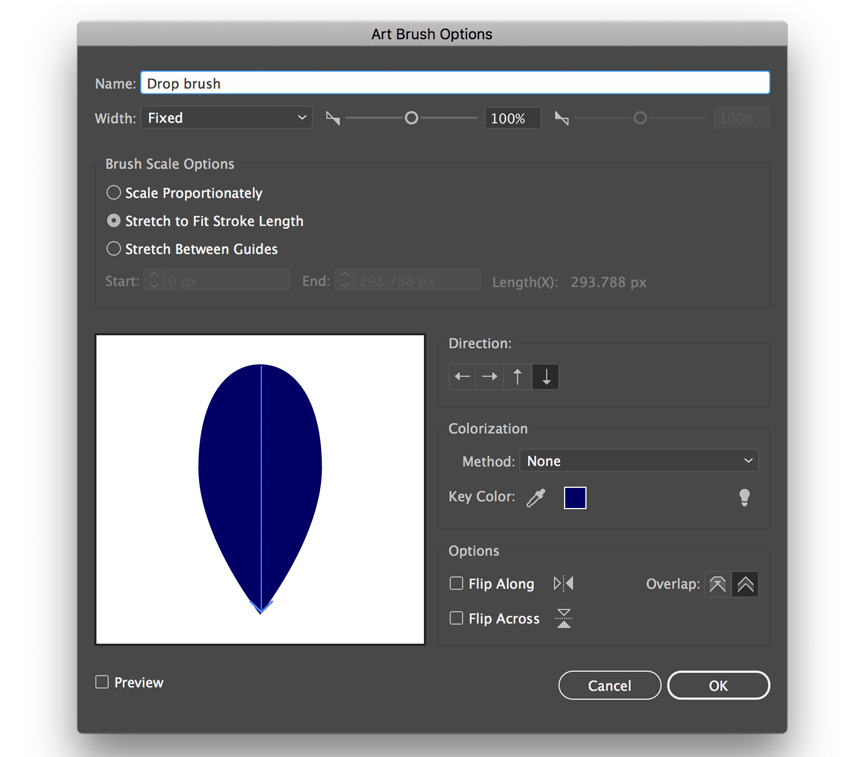 Art brush settings