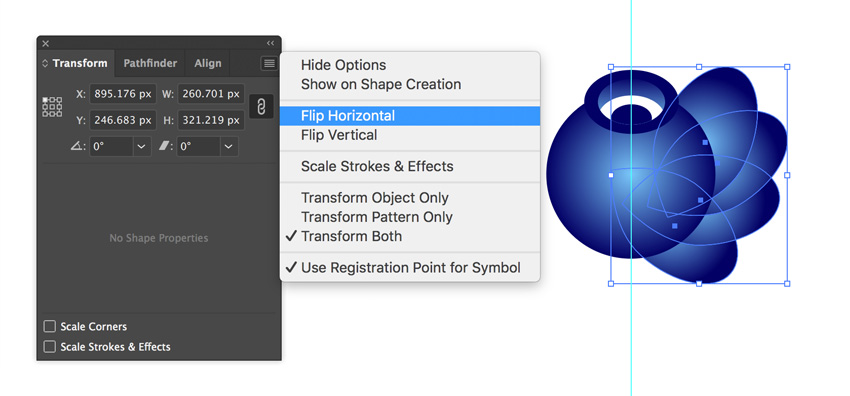 Flip horizontal in Adobe Illustrator