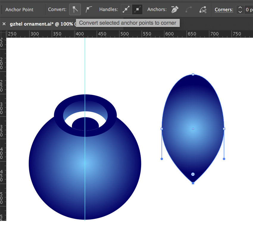 Drawing leaf with ellipse tool