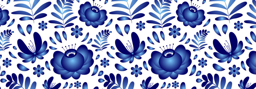 Final result of Traditional Russian Gzhel pottery style seamless pattern
