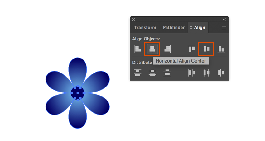 Align objects in Adobe Illustration