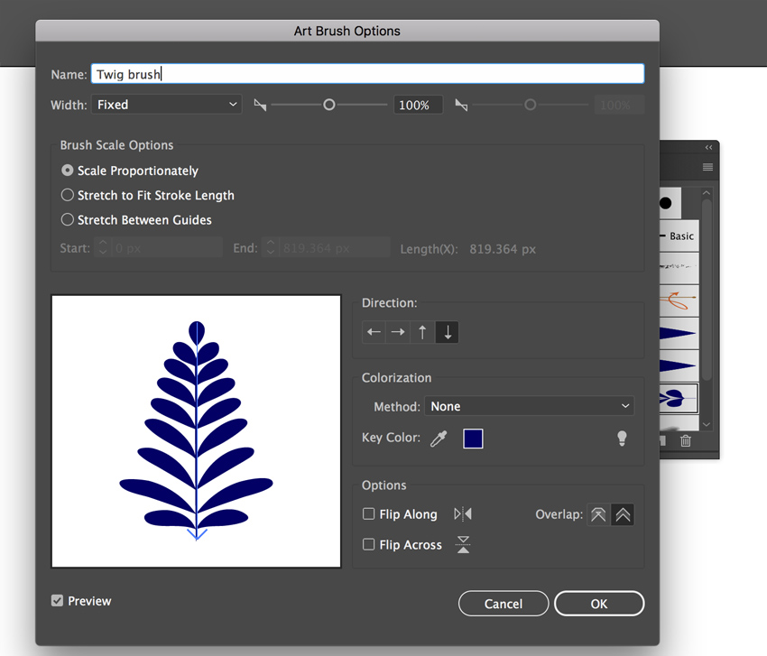 Create twig art brush for Gzhel pattern