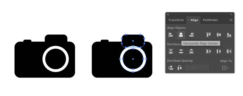 Align cameras details in Adobe Illustrator