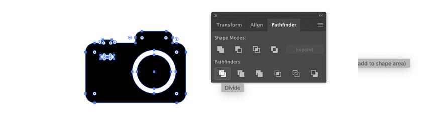 Camera icon in Adobe Illustrator