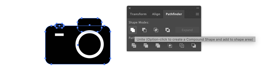 Unite all black shapes in Adobe Illustrator