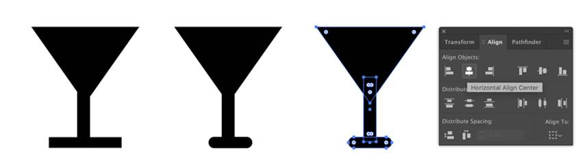 Align shapes in Adobe Illustrator