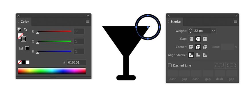 Stroke and color settings in Adobe Illustrator